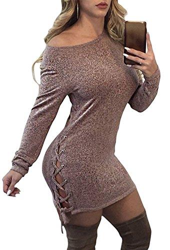 Minetom Donna Mini Abito Dress Sexy Sweater Maglione Pullover Colletto Obliquo Allaccia Del Bordo Sexy Elegante Primavera Autunno Caffè
