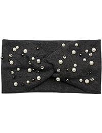 styleBREAKER Haarband in Feinripp Optik mit Schleife, Strass und Perlen, Stirnband, Headband, Damen 04026011