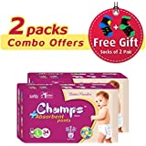 Champs High Absorbent Premium Pant Style Diaper (Pack Of 2)(Free 2-Pair Socks)| Premium Pant Diapers | Premium Diapers | Premium Baby Diapers | Anti-rash And Anti-bacterial Diaper | (Large, 34)