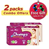 #9: Champs High Absorbent Premium Pant Style Diaper (Pack of 2)(Free 2-Pair Socks)| Premium Pant Diapers | Premium Diapers | Premium Baby Diapers | anti-rash and anti-bacterial diaper | (Large, 34)