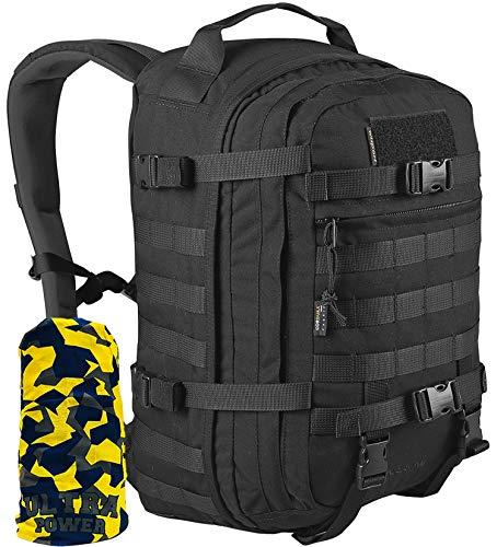 WiSPORT® SPARROW Rucksack 30 Liter   Cordura   Militär   MOLLE   Kampfrucksack   Wandern   Sport   Outdoor, Tarnung:black
