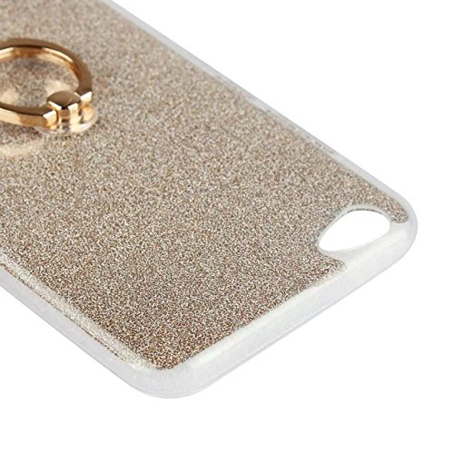 Luxus Bling Sparkle Style Case, Soft TPU [Silikon] Flexible Glitter Rückentasche mit Fingerring Stand für Vivo Y67 ( Color : Pink ) Black