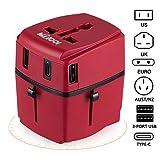 Adaptateur Voyage MILOOL avec 3 USB et 1 Type-c Port Adaptateur Universelle pour UK / EU / US / Adaptateur Prise tout-en-un Multi-prise Forme de la Maison (Red)
