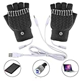 bescita Winter Warm Frau  Männer Handschuhe, Beheizte USB-Handschuhe, bis 45 °C, Entnehmbare Heiz-Elemente (Beheizbare Tastatur) (D)