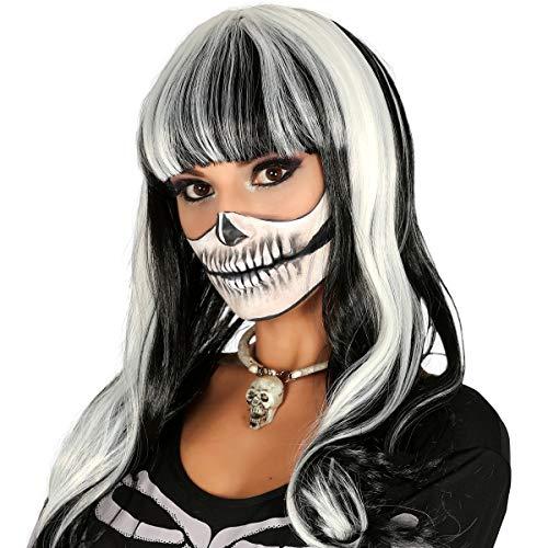 (Guirca Halloween Hexen Perücke Schwarze Mähne mit weißen Strähnchen)