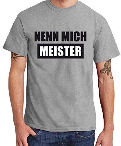 clothinx Herren T-Shirt Nenn mich Meister Sports Grey
