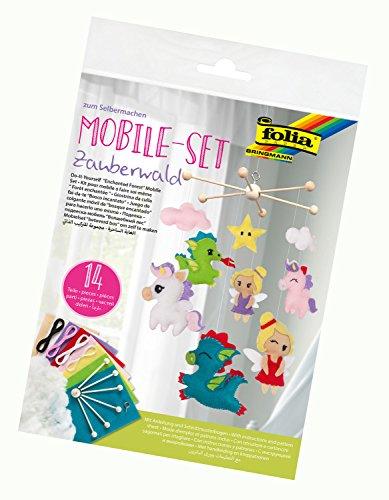 folia 22859 - Mobile Set Zauberwald zum Selbermachen, mit 14 Teilen, Anleitung und Schnittmusterbogen - Komplettset zur Erstellung eines Mobiles Set Mobile