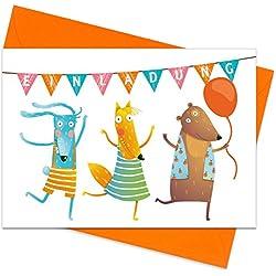 15er Set (inkl. Umschläge): Einladungskarten Tier-Party für den Kindergeburtstag oder Anderen Anlass - hochwertige Geburtstagseinladungen für Kinder, Mädchen, Jungen