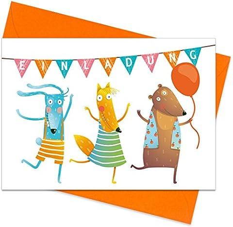 """8er Set (inkl. Umschläge): Einladungskarten """"Tier-Party"""" für den Kindergeburtstag oder anderen Anlass – hochwertige Geburtstagseinladungen für Kinder, Mädchen, Jungen"""