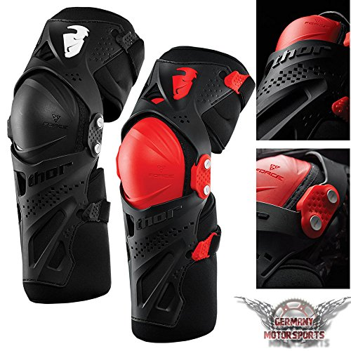 Thor Force XP Rodilleras para motocross, color negro y rojo