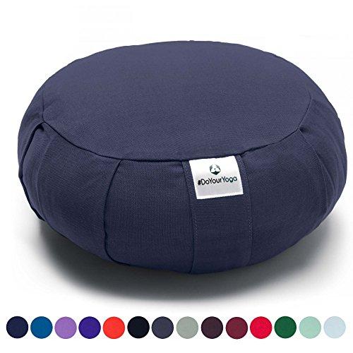Coussin Zafu »Moogli« / Coussin de méditation de yoga classique ou coussin de yoga / 100 % coton / 35 cm x 15 cm / Disponible dans de nombreuses couleurs magnifiques / Bleu Nuit