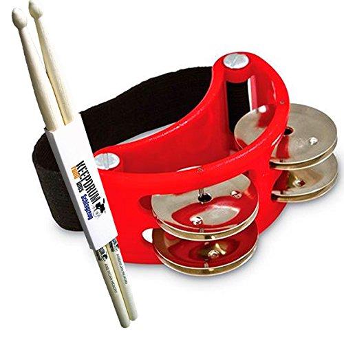 lp-latin-percussion-lp188-foot-tambourine-fuss-schellenkranz-keepdrum-drumsticks-1-paar