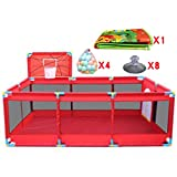 Gran Baby Playpen with con Baloncesto Hoop/Balls Plegable Kids Play Pens 10 Panel Children Activity Center Habitación Fitted Floor Mats, Red