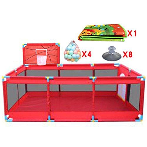 Gran Baby Playpen with con Baloncesto Hoop/Balls Plegable Kids Play Pens 10 Panel Children Activity Center Habitación Fitted Floor Mats, Red