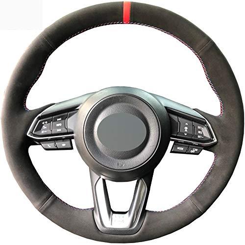 HCDSWSN Schwarzes Veloursleder-Auto-Lenkrad-Abdeckung für Mazda 3 Axela 2017-2019 für Mazda 6 Atenza 2017-2019 CX-3 CX-4 CX-5 CX-9 CX9 CX-8 (Mazda 3 Lenkrad Abdeckung)