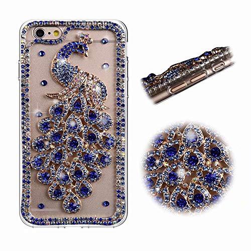 iPhone 8 Hülle, MingKun TPU Silikon Diamant Bling Handytasche für iPhone 7/8 Schutzhülle Kristall Brillant Rutschfeste Anti-Kratzer Case Cover - Pfau Blau