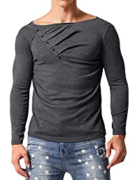 MODCHOK Men's Long Sleeve T-Shirt Casual Pullover Button Sweatshirts Slim Fit Tops