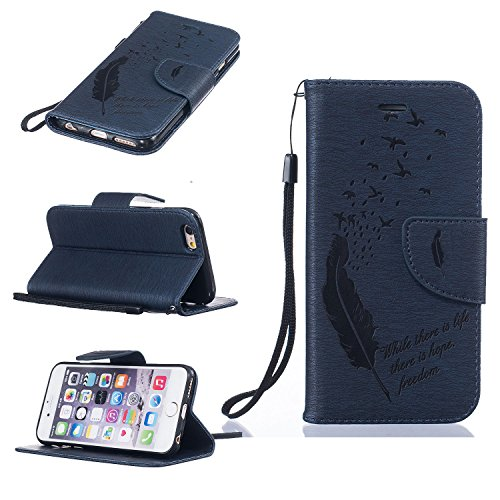 Hanyhülle iPhone 6s Leder, LuckyW PU Leder Feder Vogel Where There is a Life There is a Hope Freedom Muster Hülle für Apple iPhone 6 6S (4.7 zoll) TPU Soft Rückseite Abdeckung Ledertasche Brieftasche  Dunkelblau
