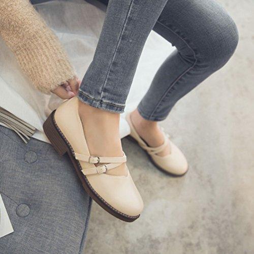 Plana Calzado Janes Deslice Pestañas Zapato De Las Y Pu Son Cuero Extremos Redonda La Los 6vO7qw