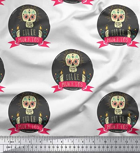 Soimoi Weiß Samt Stoff Text & Schädel Halloween Drucken Nahen Stoff 1 Meter 58 Zoll breit