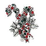 Gespout 1x Rhinestone Weihnachtsstock Form Brosche Strass Steine Modern Broschennadeln Bekleidungs Schmuck Weihnachten Geschenk für Frau Kleidung Dekoration