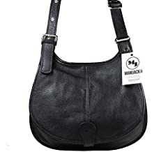 Mamjack - Bolso al hombro de Piel Lisa para mujer negro negro