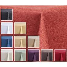 """Tela mantel–lino óptica–resistente al agua, cuadrada de 130x 160cm), diseño de cuadros, color naranja terracota """"Mantel de""""–Color"""