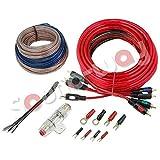 Unbekannt Kabelset komplett für Verstärker, Subwoofer für Auto, Anschluss Car Hifi, 4Kanäle, RCA-Kabel und Lautsprecher