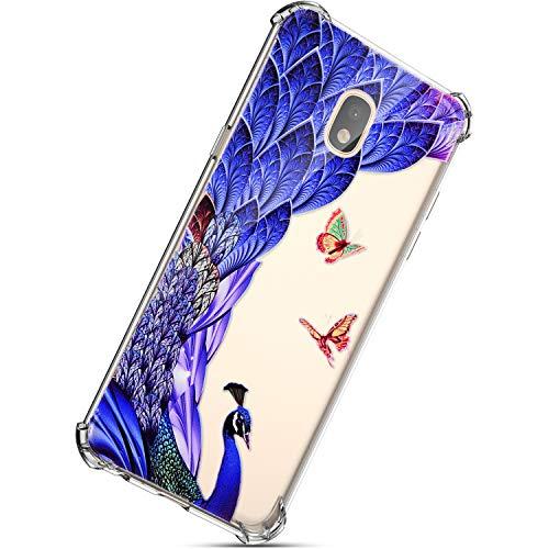 Kompatibel mit Samsung Galaxy J7 2017 Hülle, Herbests Schutzhülle Tasche Hüllen Handyhülle Crystal Clear Transparent TPU Silikon Handyhülle Kratzfest Durchsichtige Handytasche,Blau Feder