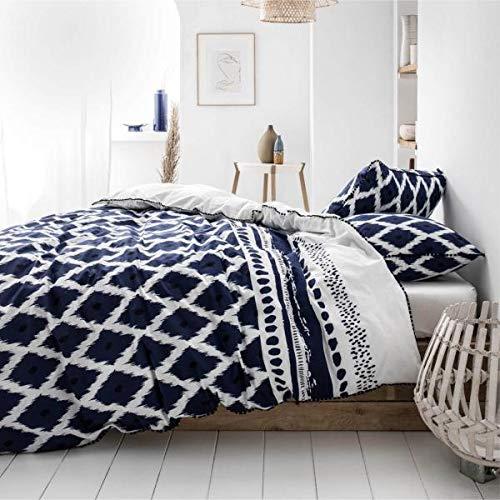 J&K Markets Housse de Couette Santorin, Blanc/Bleu, Gamme Cyclades, 220x240cm, 2 Personnes, 100% Coton Edition Lim