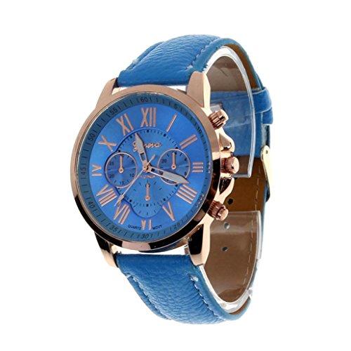 Valentinstag Uhren DELLIN Damenmode Genf römischen Ziffern Kunstleder analoge Quarz-Armbanduhr (Blau)
