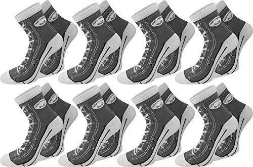 6 Paar Socken im Schuh-Design mit vielen originalgetreuen Details Farbe Grau Größe 39/42 (Schuh-design-socken)