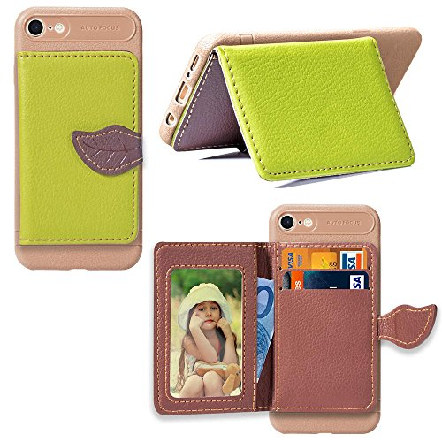 Artfeel Hülle für iPhone 7 Brieftasche Hülle Grün,iPhone 8 Dünn PU Leder Handyhülle mit Kartenhalter,Mode Blatt Magnetverschluss Flip Ständer Geldbörse Schutzhülle (Dünne Gummi-blatt)