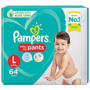 Pampers All round Protection Pants, Large size baby diapers (LG), 64 Count, Anti Rash diapers, Lotion with Aloe Vera