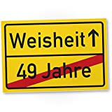 DankeDir! Weisheit (49 Jahre) Kunststoff Schild - Geschenk 50. Geburtstag, Geschenkidee Geburtstagsgeschenk Fünzigsten, Geburtstagsdeko/Partydeko / Party Zubehör/Geburtstagskarte