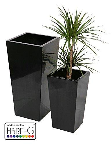 Grand Cache Pot Black Cubic Fiberglass and Gel - XL
