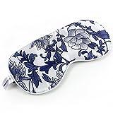 T-YZAG 2 pezzi Maschera per gli occhi di uomini e donne respiratori ombreggiatura del sonno sonno maschera può essere caldo comprimere il ghiaccio, porcellana blu e bianca