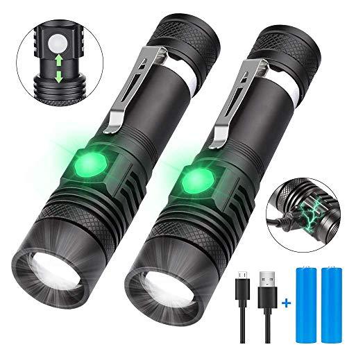 LED Taschenlampe USB Wiederaufladbar, Karrong Arbeit Taschenlampe 4 Modi Wasserdicht Zoombar Einstellbarer Fokus, Taktische Taschenlampen für Innen Outdoor Camping Wandern (Inklusive 18650 Akku) - Kleine Taschenlampe Wiederaufladbare