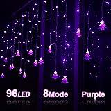 Klighten LED Lichterkette, Weihnachtsbeleuchtung, 96er LED Lichtervorhang Lang Weihnachtsbaum LED String Licht, Innen/Außen Weihnachtsdeko Deko Christmas 3.5 x 0.65 m, Lila