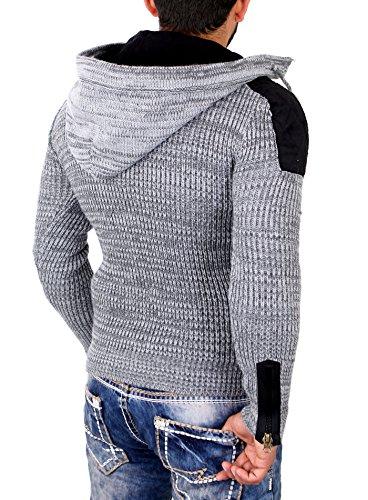 Tazzio Strickpullover Herren Winter Grobstrick Kapuzen Pullover TZ-454 Grau