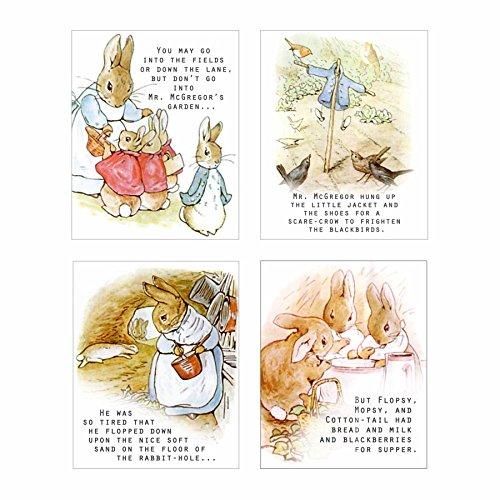 Blick Studio (ArtDash? Studio Presents Ein Blick auf Beatrix Potter Peter Hase ~ Set von Vier 20,3cm × 25,4cm Prints)