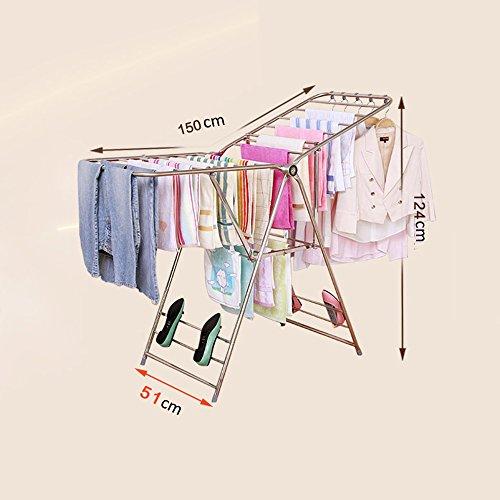 LXF Séchoirs à linge Airfoil Séchage Racks Dressage Landing Balcon Séchage Fold Par Cadre Épaississement Acier Inoxydable Séchage Rack Unique ( taille : Les petites )