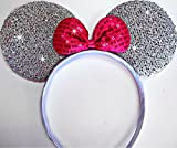 #3: Partysanthe Bow Head Band Gliter Sliver With Bow Red Minnie Mouse/Mickey Mouse Bow Headband/ Minnie Mouse Ears Headband Hairband Costume Accessory...