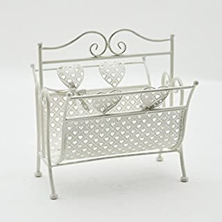 AcaciaHome Metal Magazine Rack Holder Newspaper Stand Shabby Chic Hearts Retro Cream 39cm