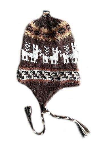 Alpacaandmore Unisex Peruanische braume Chullo Mütze Alpakawolle Alpaka Motiv (Alpaka Chullo Strickmütze)