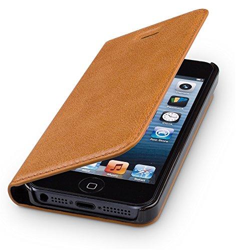 WIIUKA Echt Ledertasche - TRAVEL - für Apple iPhone 5 / 5S / SE Hülle mit Kartenfach, Cognac Braun, extra Dünn Premium Design Leder Tasche Case