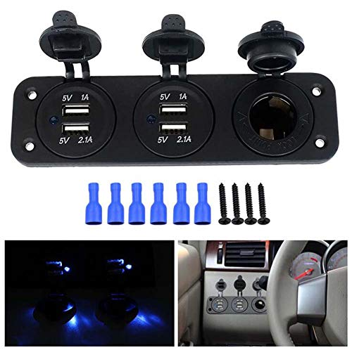 SHIMOTOO Caricabatteria da Auto Triplo USB, accendisigari Sedile Auto RV ATV Centro Console Doppia Modifica USB 12V