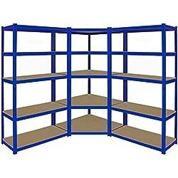 Kit d'étagères de garage en coin ultra-résistantes - 1 élément en coin de 1800x 900x 450mm et 2éléments d'étagères de 1800 x 900 x 450mm (H x l x P) - Grande capacité de stockage de 4125kg