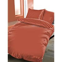 """'BRAND sseller algodón de alta calidad––Juego de ropa de cama reversible (satén rayas """"feima funda nórdica: 135X200cm almohada: 80x80con cremallera, microfibra, rojo, 80 x 80 - 135 x 200"""