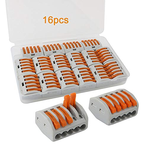 FULARR 16Pcs Premium PCT-215 Lever-Nut, Conducteur Compact Splicing Fils Connecteurs, Printemps Bornier Pousser Câble Fil Connecteur –– 5 Port